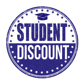 Student discount grunge rubber stamp on white background, vector illustration
